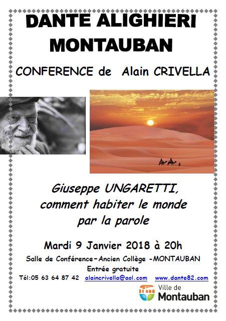conference Dante Alighieri 9 janvier 2018